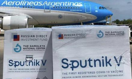Argentina recibió segundo cargamento de dosis de la vacuna rusa contra el Covid-19