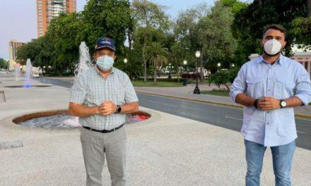 Gobernador Marco Torres y alcalde Rafael Morales inspeccionan rehabilitación  del paseo Las Delicias y fuentes de la avenida Bolívar