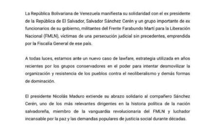 Venezuela se solidariza con el expresidente salvadoreño Salvador Sánchez Cerén