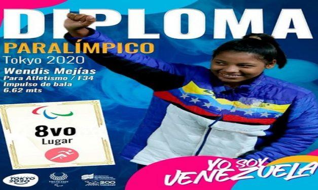 Wendis Mejías suma segundo Diploma Paralímpico en Tokio 2020